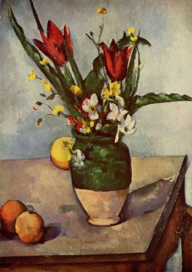 Cezanne, Paul: Still Life, Tulips and Apples. Fine Art Print/Poster. Sizes: A4/A3/A2/A1 (004210)